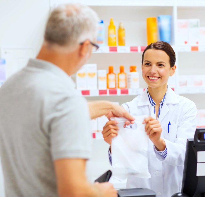 female pharmacist and customer communicating